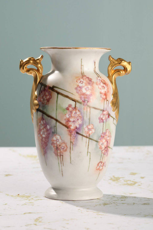 A Hand Painted German Porcelain Vase - Greystones Antiques