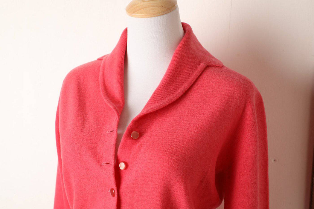 A 1940s 100% Scottish Lambswool Pink Cardigan - Greystones Antiques