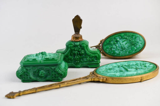 An Ornate 1930s Malachite Glass Dressing Table Set - Greystones Antiques