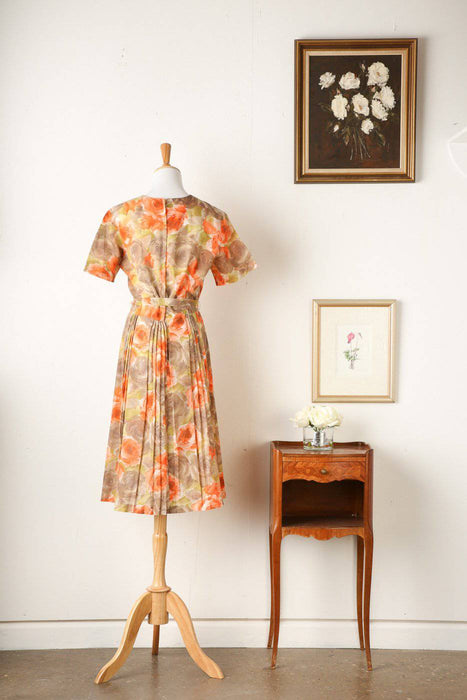 A 1960s Pleated Floral Summer Dress - Greystones Antiques