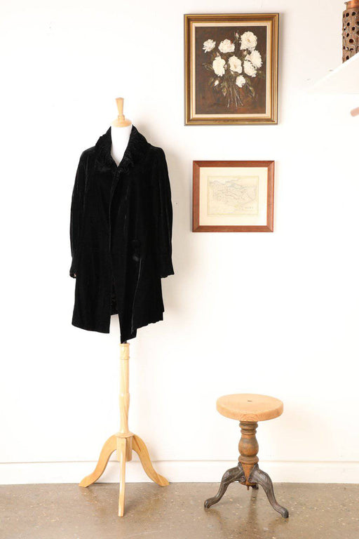 A 1930s Black Velvet Drop Waist Coat - Greystones Antiques