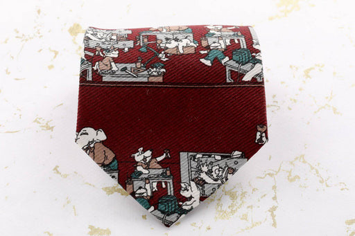 A Michelle Hoche Maroon Cartoon Tie - Greystones Antiques