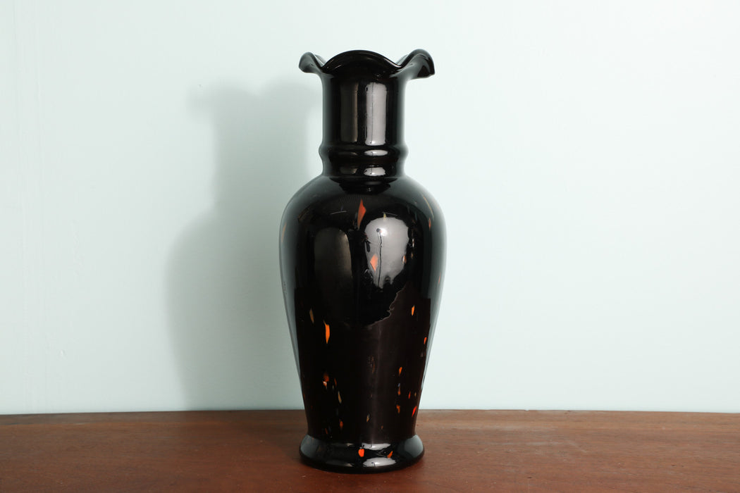 A Black Opaque Hand Blown Glass Vase - Greystones Antiques