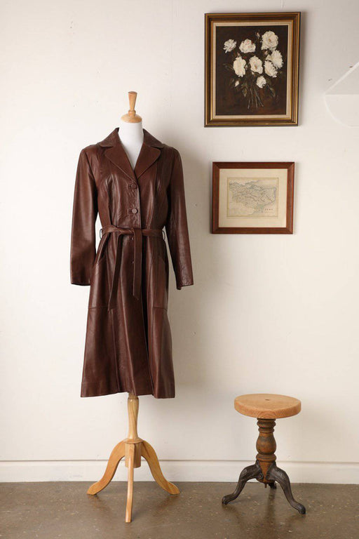A 1970s Full Length Leather Tailored Fit Coat - Greystones Antiques