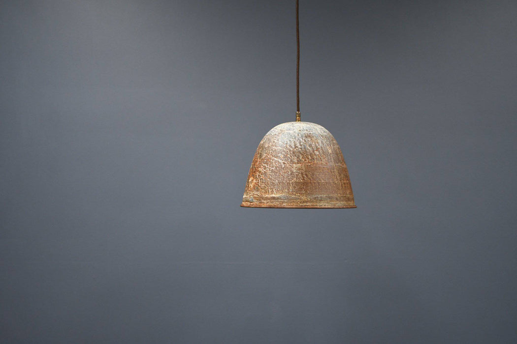 A Vintage Industrial Rusted Iron Pendant Light - Greystones Antiques