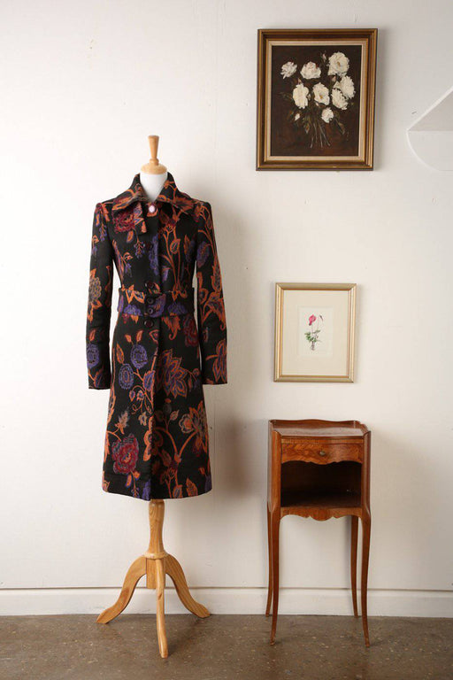 1980s Brocade Fitted Coat with Belt - Greystones Antiques