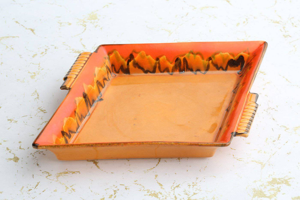 An Art Deco Rosenthal Bavaria Orange Drip Glazed Tray - Greystones Antiques