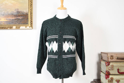 A Hand Knitted Eurpoean Men's Cardigan - Greystones Antiques