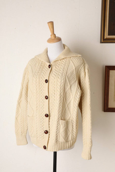 A 1960s Irish Aran Knit Cardigan - Greystones Antiques