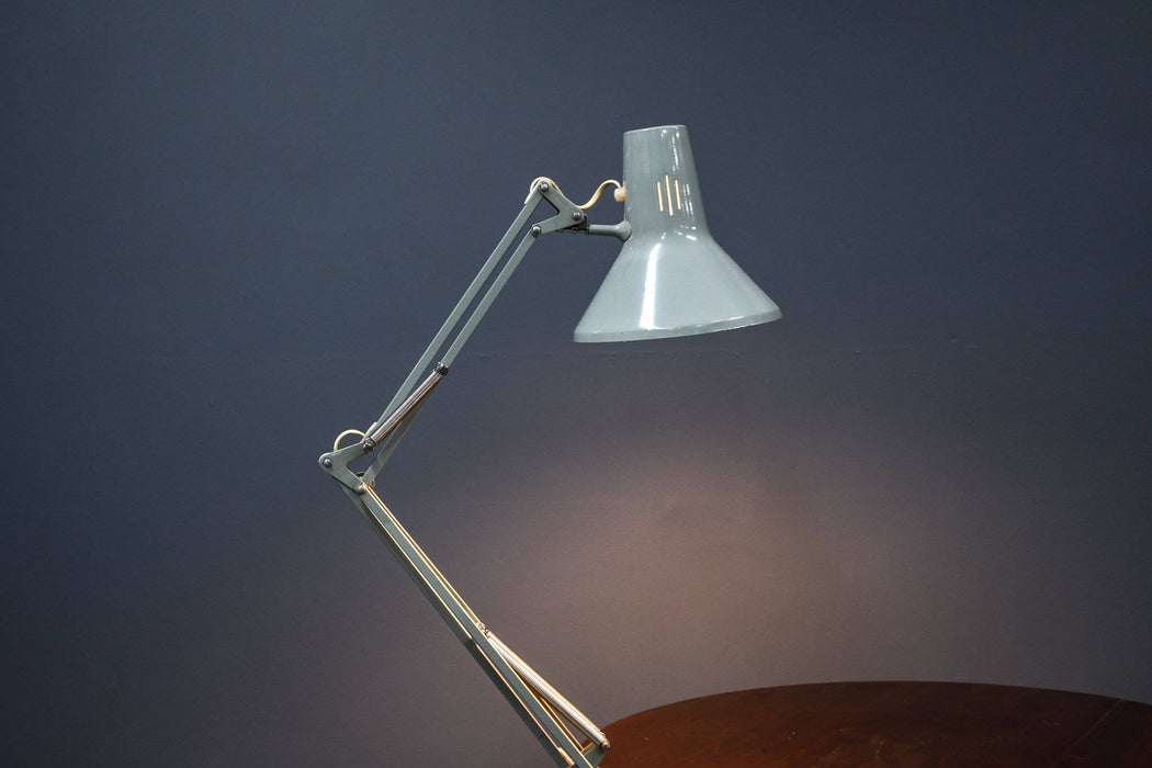 A Grey 1960s Norwegian Luxo Industrial Bench Mounted Lamp - Greystones Antiques
