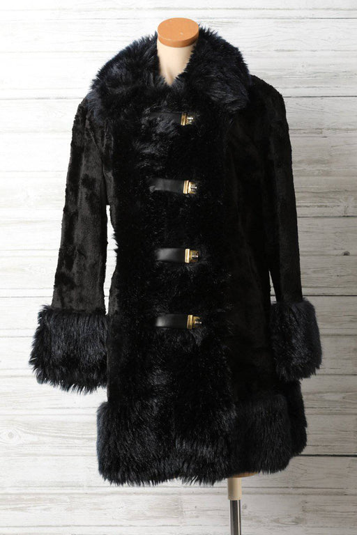 1960s Black Faux Fur Coat - Greystones Antiques