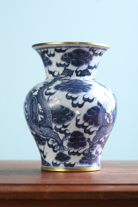 A Chinese Blue and White Vase 20th Century - Greystones Antiques