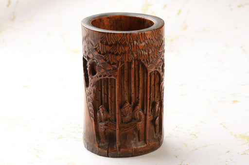 A Chinese Carved Bamboo Brush Pot - Greystones Antiques