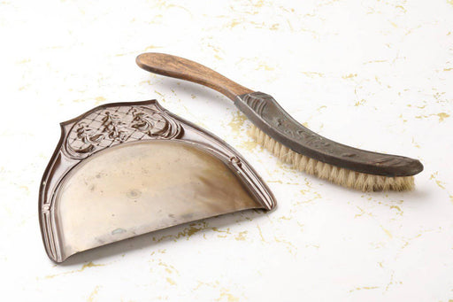 An Edwardian Brass Crumb Tray and Brush - Greystones Antiques