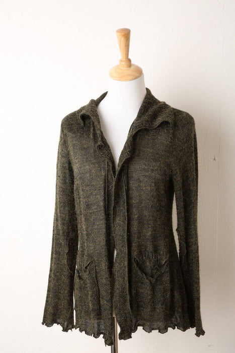 1990s Olive Green Knitted Cardigan - Greystones Antiques