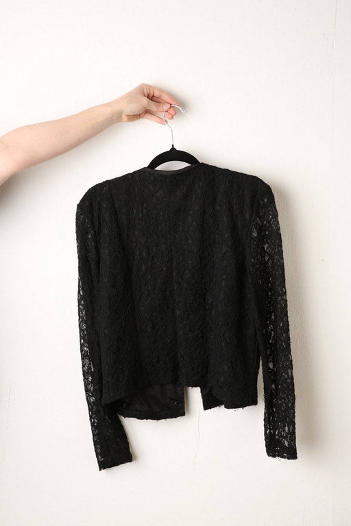 A 1990s Black Lace Cardigan - Greystones Antiques