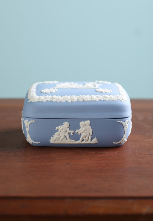 A Mid-Century Blue Jasperware Trinket Box - Greystones Antiques