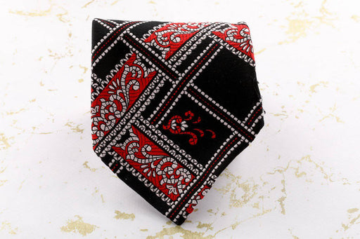 A Red and Black Polyester Tie - Greystones Antiques