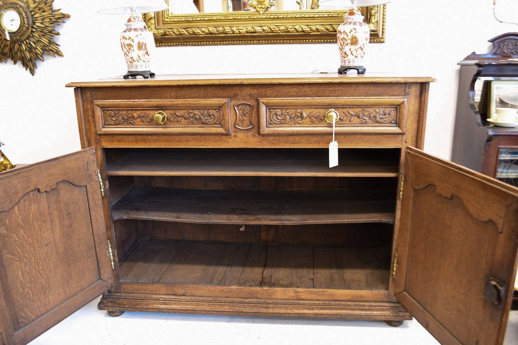 A Carved French Oak Dresser Base Late 1700s - Greystones Antiques