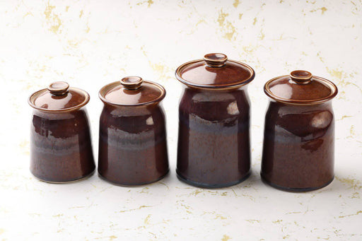 A Set of Four Purple Glazed Studio Pottery Cannisters - Greystones Antiques