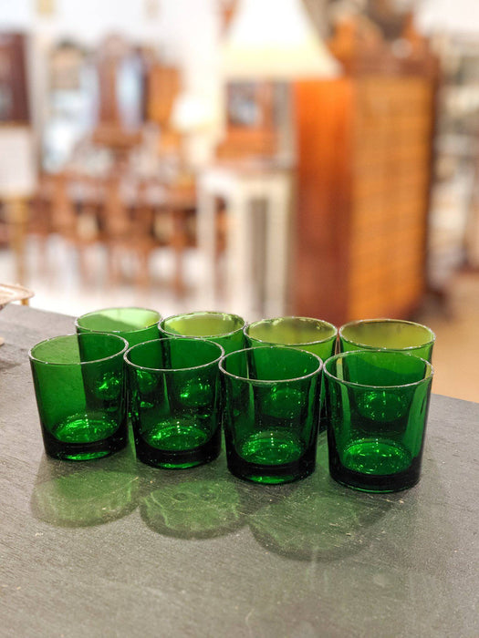 Eight Mid-Century Italian Green Glass Tumblers - Greystones Antiques