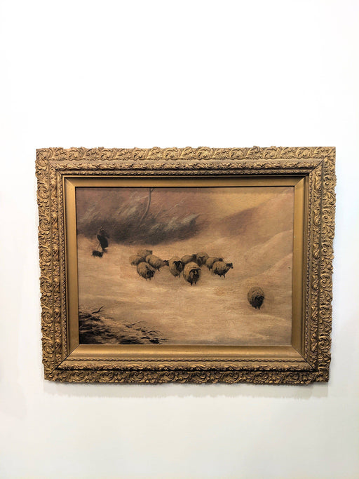 A 19th Century Scottish Oil Landscape of Shepherd with Sheep - Greystones Antiques
