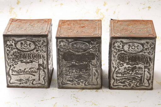 A Set of Three Griffiths Tea Tins Early 1900s - Greystones Antiques
