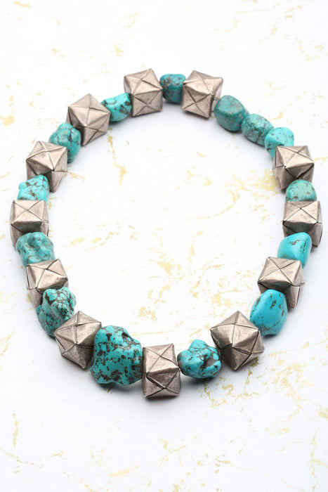 A Modern Enhanced Turquoise Brutalist Necklace - Greystones Antiques