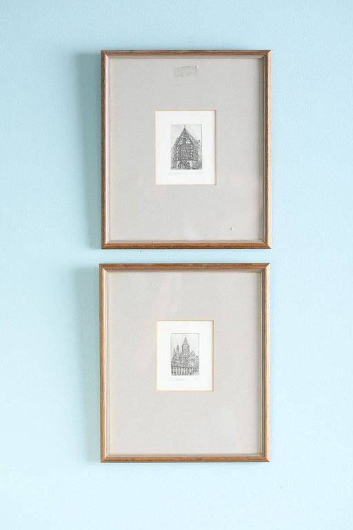 A Pair of Framed Etchings - Greystones Antiques