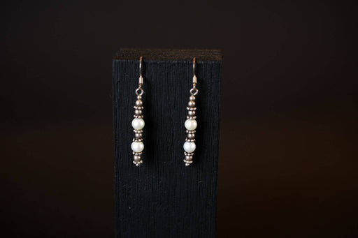 Sterling Silver and Cultured Pearl Earrings C.1950 - Greystones Antiques