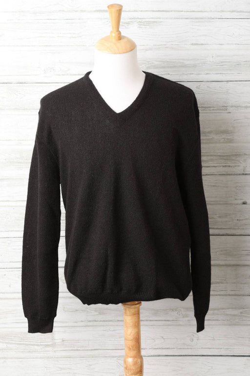 A Black V-Neck Alpaca Wool Jumper - Greystones Antiques