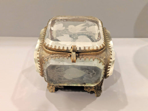A 19th Century French Etched Glass Jewellery Box - Greystones Antiques
