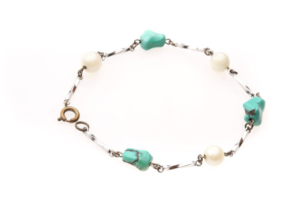 A Faux Pearl and Turquoise Bracelet - Greystones Antiques