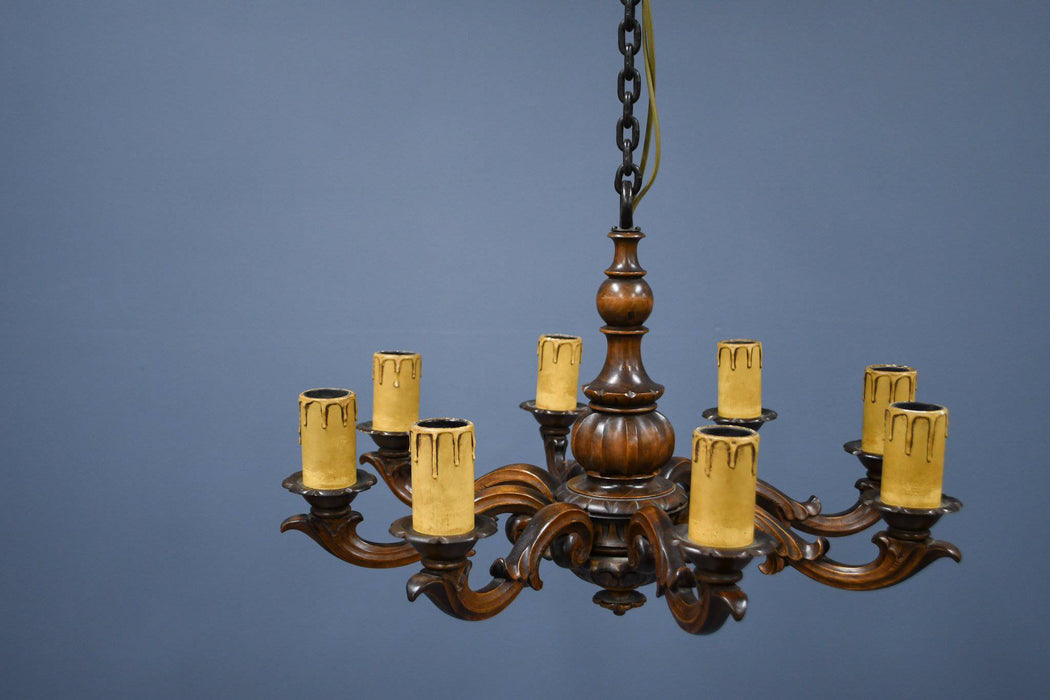 A 1920s Dutch Carved Walnut and Wrought Iron Chandelier - Greystones Antiques