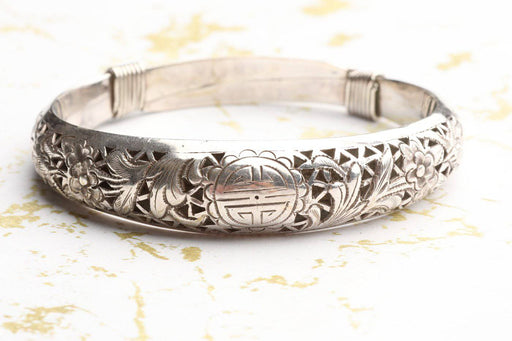 A Silver Plated Thai Bangle - Greystones Antiques