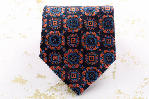 Navy Blue and Copper Tie - Greystones Antiques