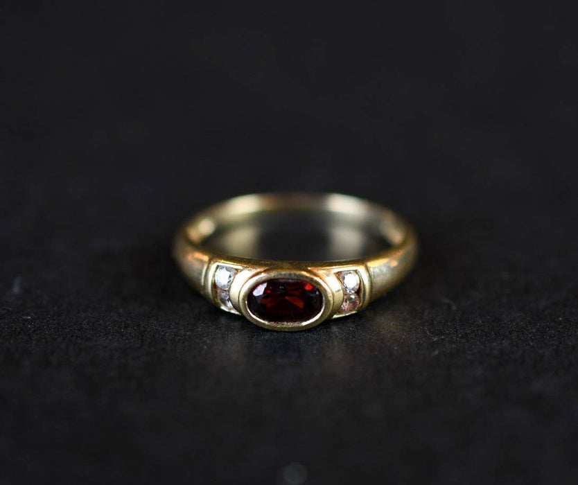 A Vintage Red Spinel and Zircon Ring - Greystones Antiques