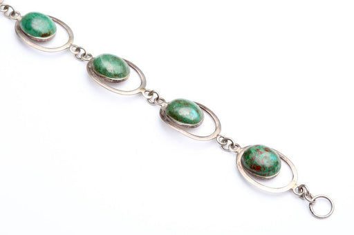 Danish Sterling Silver and Bloodstone Bracelet - Greystones Antiques