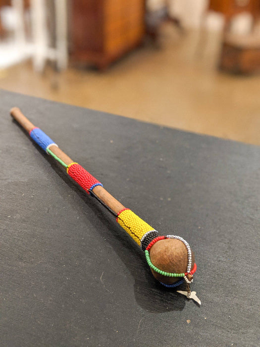 A Vintage African Beaded Carved Wooden Ceremonial Club - Greystones Antiques