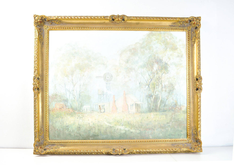Syd Mather Landscape Oil Painting with Personal Note on Reverse - Greystones Antiques