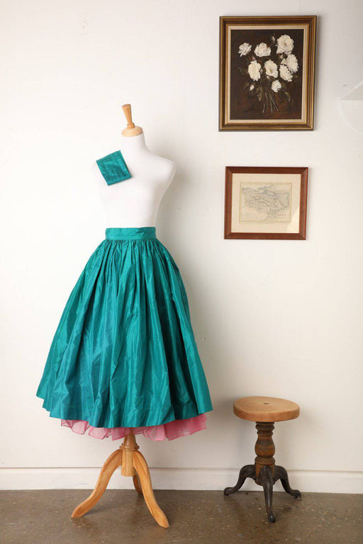 A 1980s Desbina Collins Pure Silk Teal Tutu Skirt and Jacket - Greystones Antiques