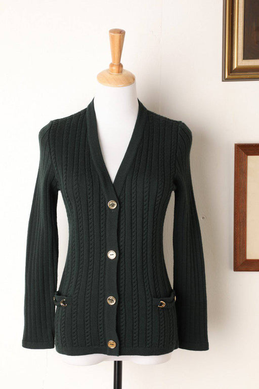 A Forest Green 100% Wool Celine Cardigan - Greystones Antiques