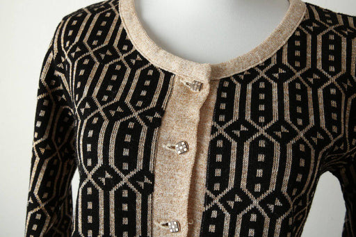 A 1980s Black and Gold Cardigan - Greystones Antiques