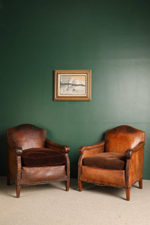 A Pair of French 19th C. Leather Armchairs - Greystones Antiques