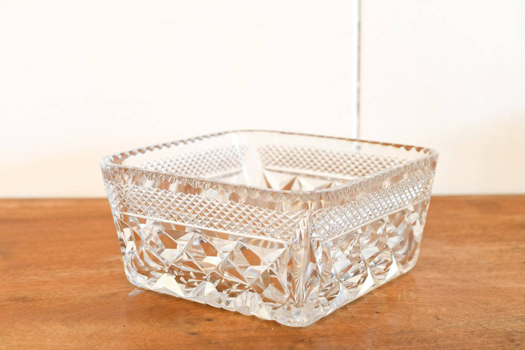 A Square Hand Cut Lead Crystal Fruit Bowl - Greystones Antiques