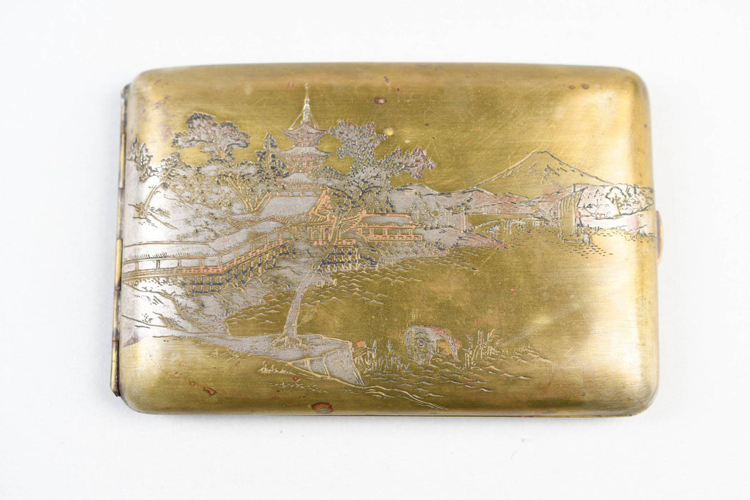 A Japanese Brass Cigarette Case - Greystones Antiques