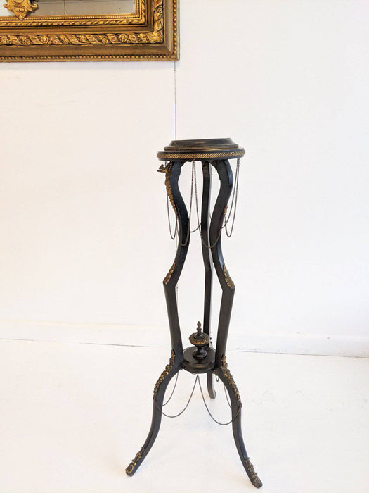 A French Ebonised Pedestal with Ormolu Mounts Late 1800s - Greystones Antiques