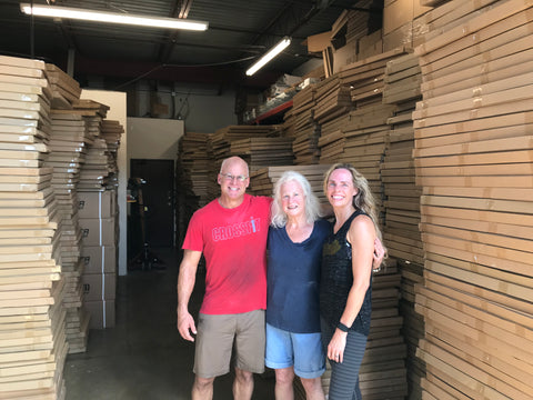 BJ's with her son, Bill and daughter-in-law, Becky, inside their SnapIt Boards warehouse