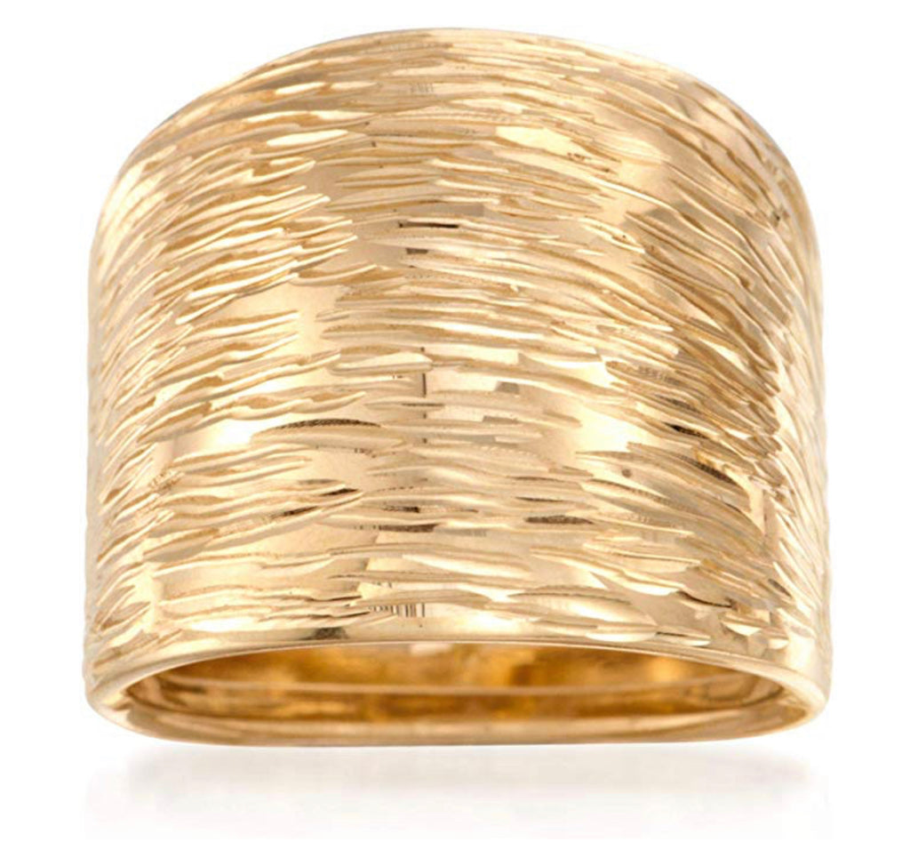 Ross-Simons Italian 14kt Yellow Gold Diamond-Cut Dome Ring