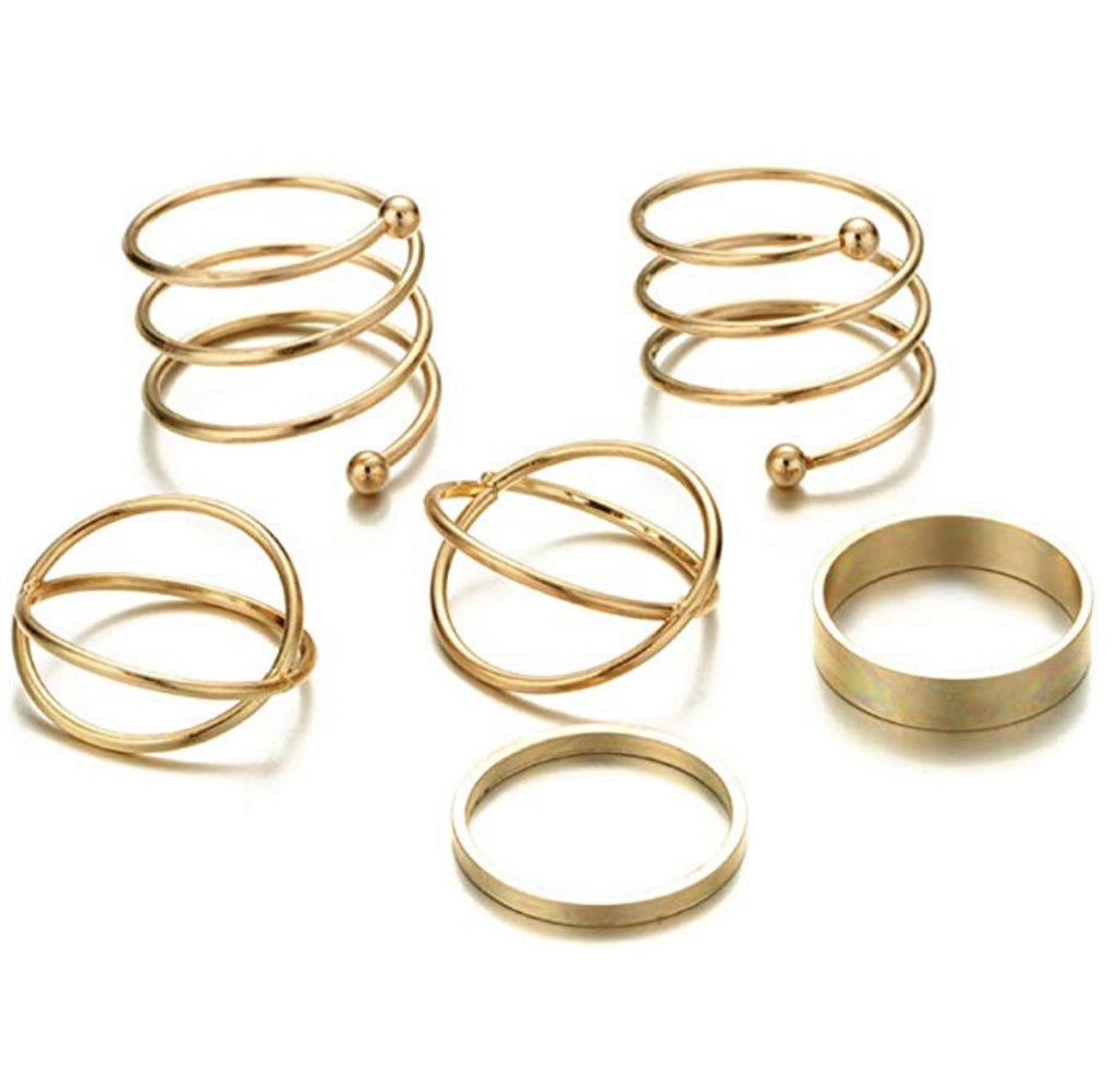 Vintage Gold Stack Rings (6 Pcs)